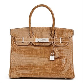 Hermès Ficelle Shiny Porosus Crocodile Leather 'Diamond' Birkin 30cm