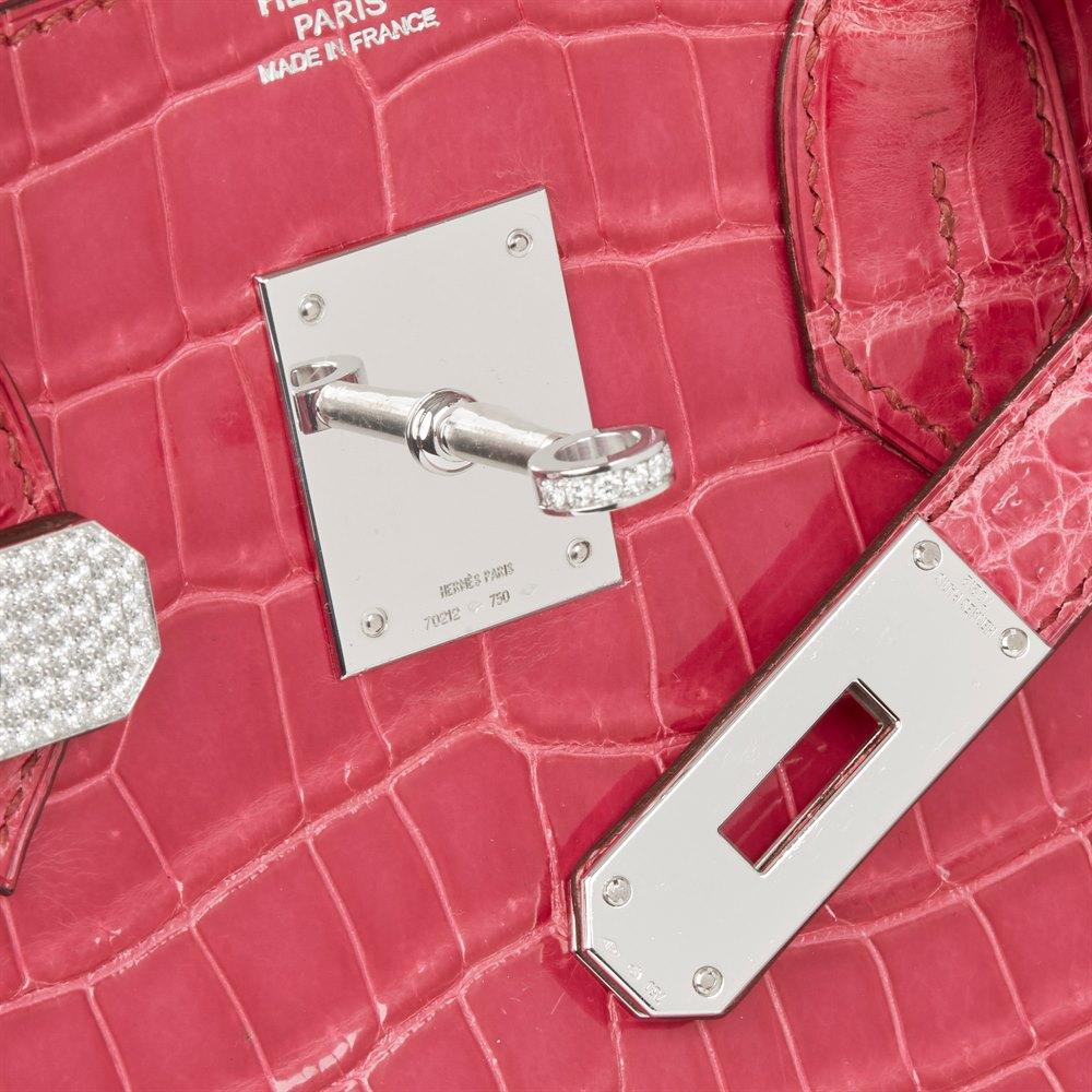 Hermès Fuschia Shiny Porosus Crocodile Leather 'Diamond' Birkin 30cm