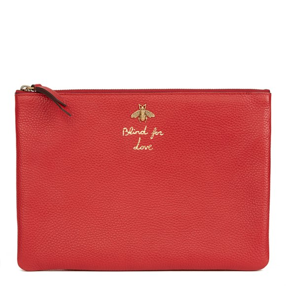 Gucci Red Calfskin Leather 'Blind For Love' Pouch