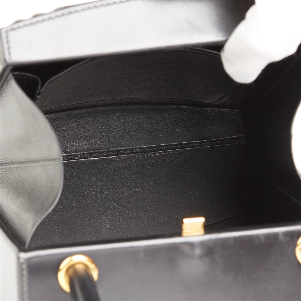 Hermès Black Box Calf Leather Vintage Cadena Bag