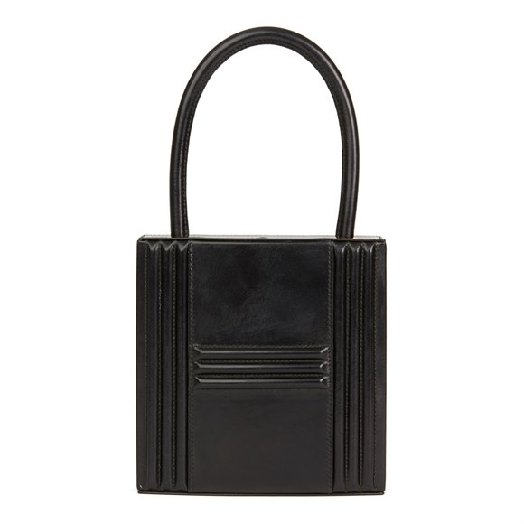 Hermès Black Box Calf Leather Vintage Cadena Bag