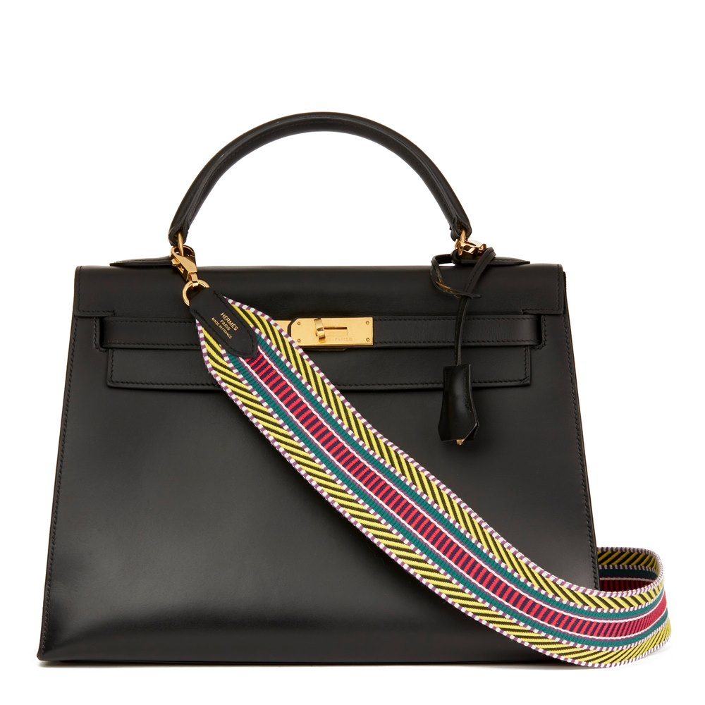 972abc5a859d Hermès Black Box Calf Leather Vintage Kelly 32cm