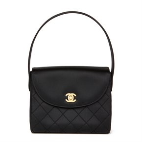 Chanel Black Quilted Satin Vintage Classic Top Handle