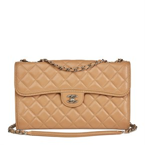 Chanel Mocha Quilted Lambskin Classic Single Flap Bag
