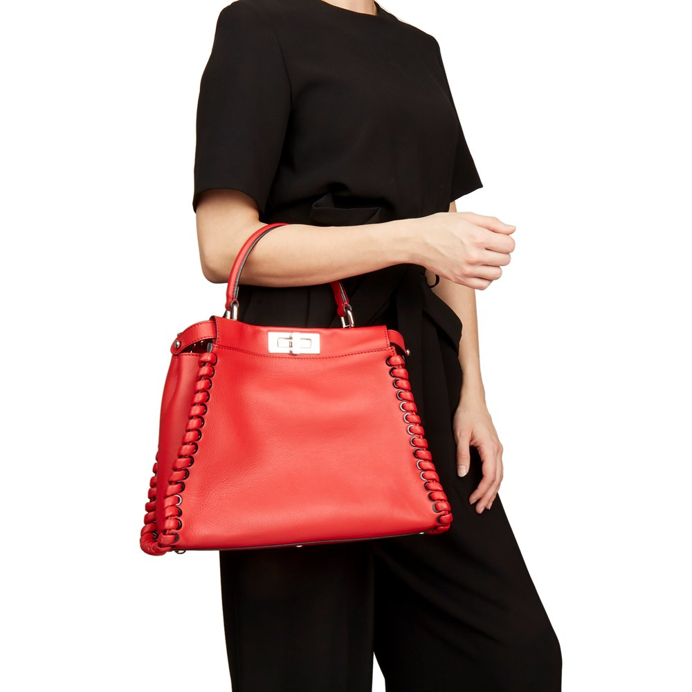 Fendi Red Smooth Calfskin Leather Whipstitch Regular Peekaboo