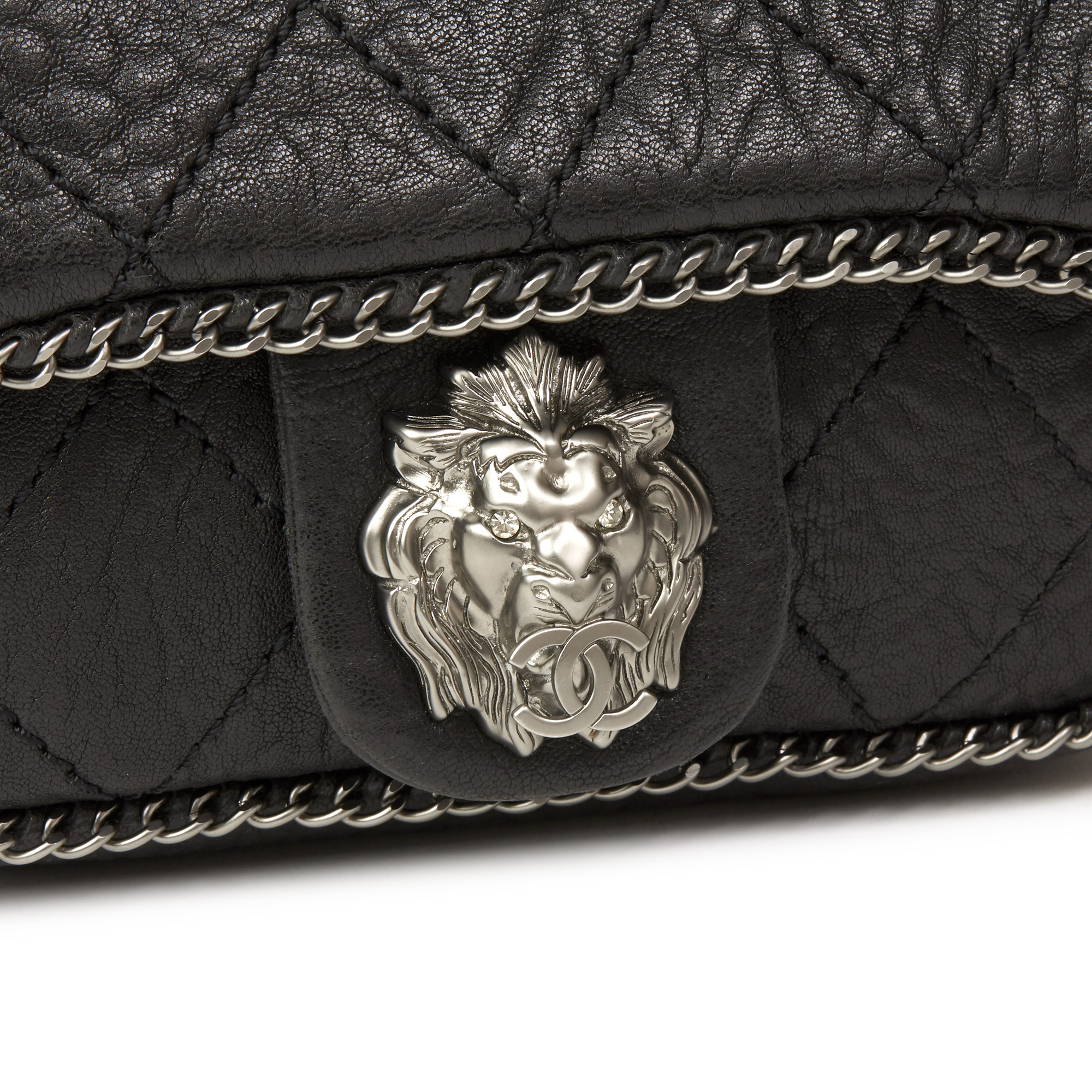 3fd0af03dd8d CHANEL BLACK QUILTED AGED CALFSKIN LEATHER 'LION' CHAIN AROUND