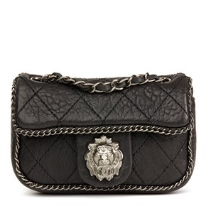 Chanel Black Quilted Aged Calfskin Leather 'Lion' Chain Around Mini Flap Bag