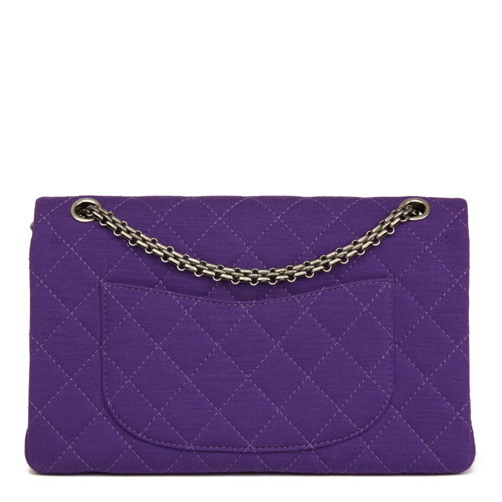 Chanel Purple Quilted Jersey Fabric 2.55 Reissue 226 Double Flap Bag