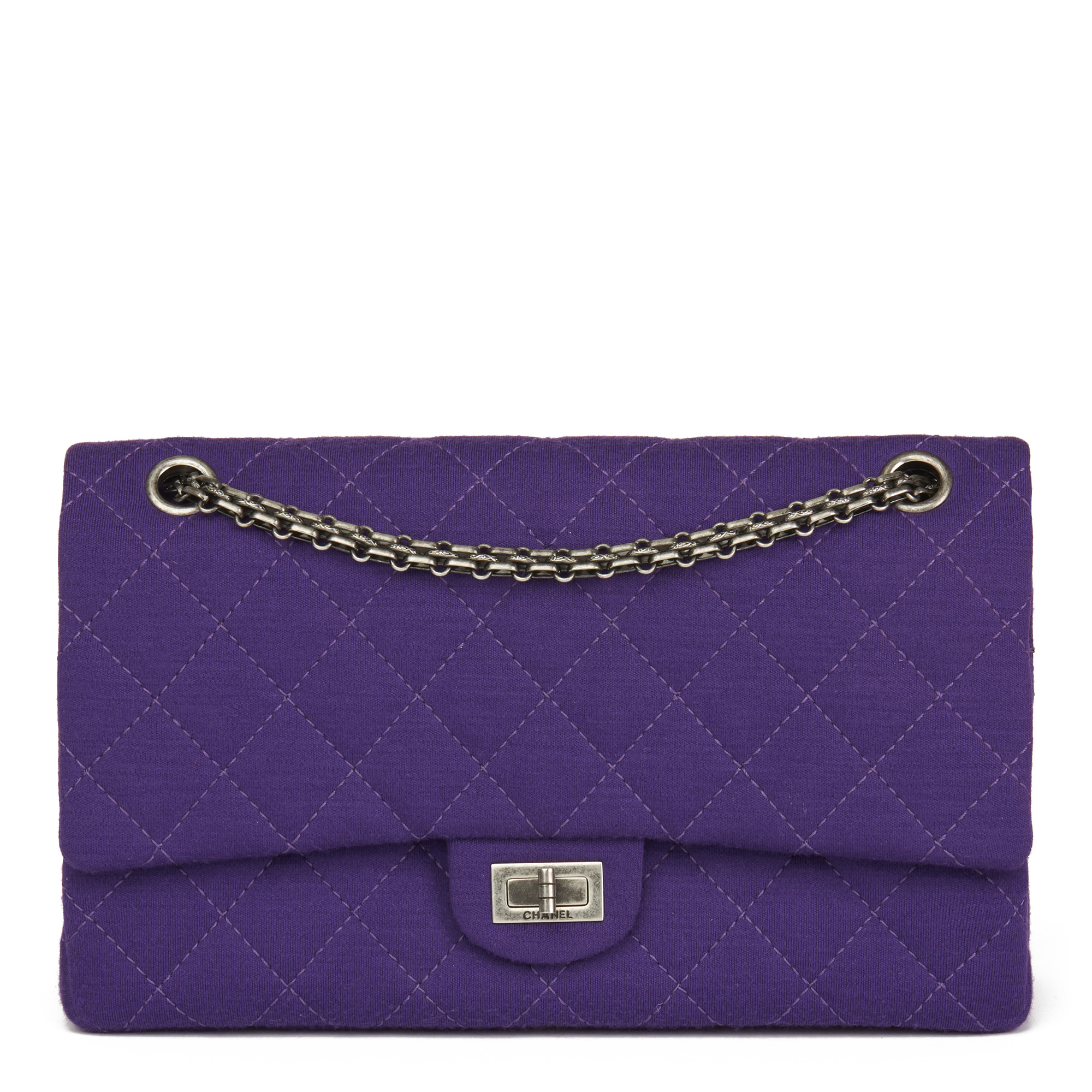 847331c886a4 CHANEL PURPLE QUILTED JERSEY FABRIC 2.55 REISSUE 226 DOUBLE FLAP BAG ...