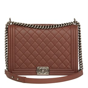 Chanel Chestnut Heavy Stitch Quilted Lambskin Large Le Boy