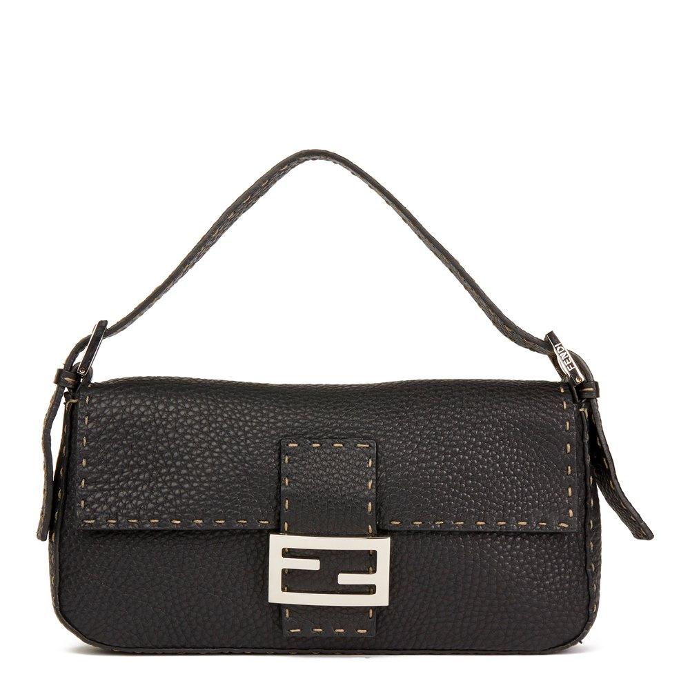 1d7978396419 Fendi Black Grained Calfskin Leather Selleria Baguette