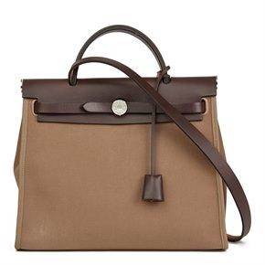 Hermès Ebene Vache Hunter Leather & Etoupe Canvas Herbag Zip 31