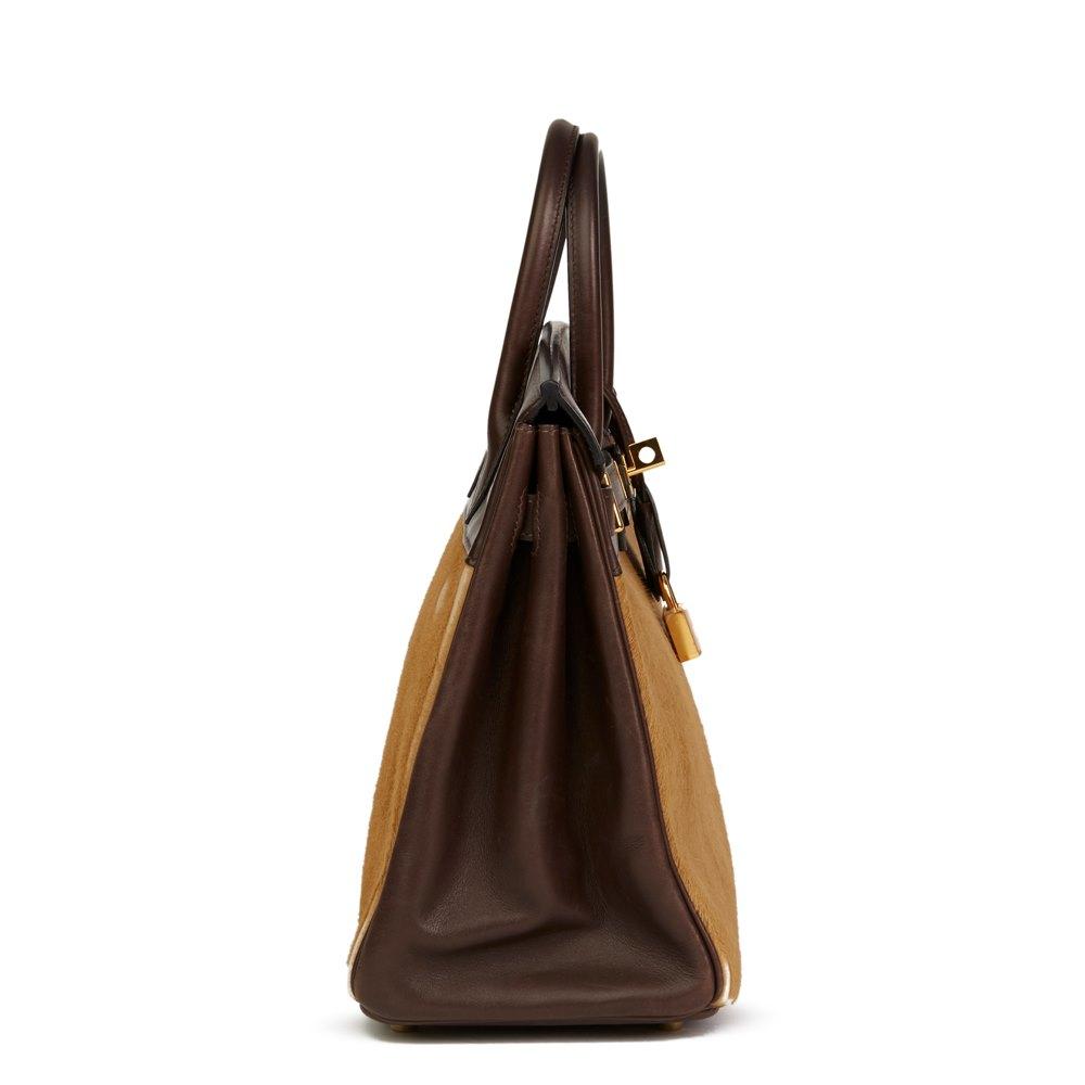 Hermès Ebene Box Calf Leather & Natural Pony Fur Troika Birkin 28cm HAC