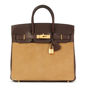 Hermès Ebene Box Calf Leather & Natural Pony Fur Troika Birkin 28cm HAC