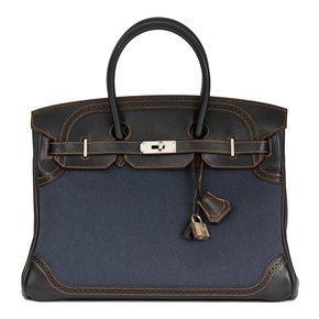 Hermès Black Evercalf Leather & Blue Denim Toile Ghillies Birkin 35cm