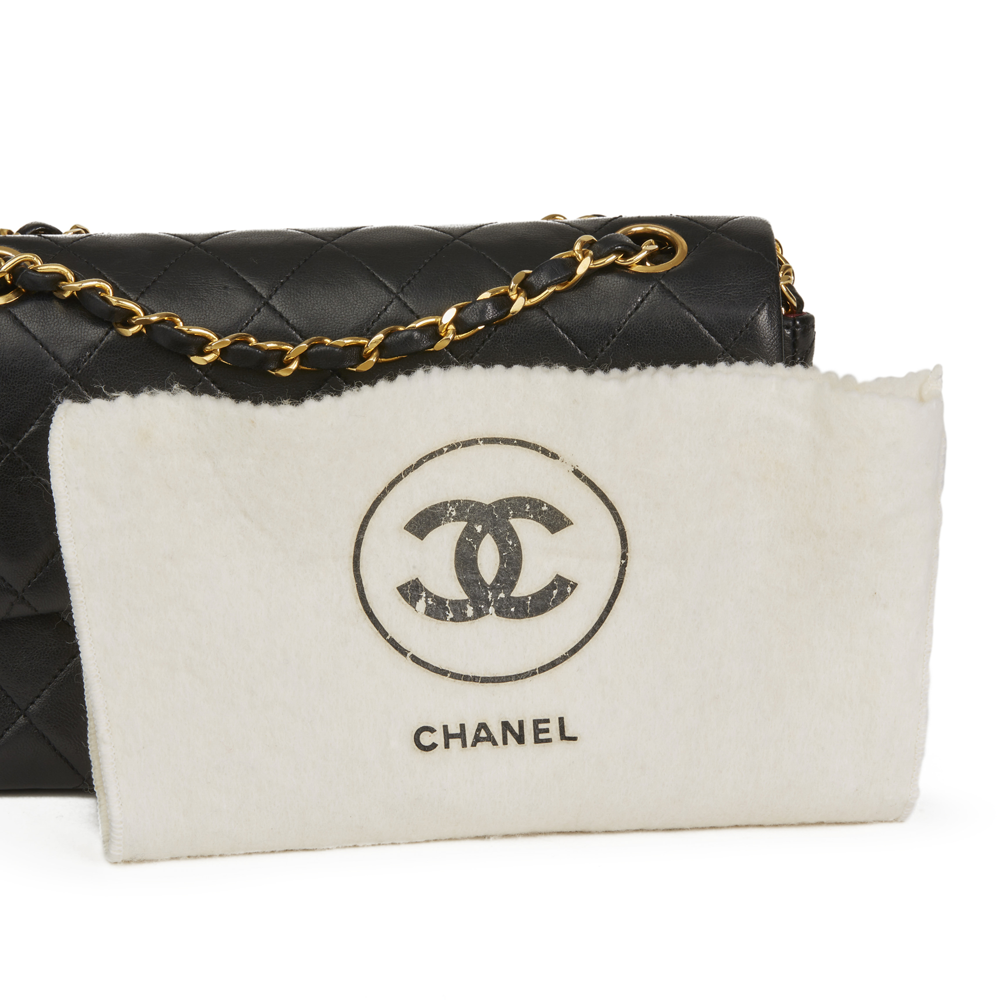 af1b7cbd9ff19 CHANEL BLACK QUILTED LAMBSKIN VINTAGE SMALL CLASSIC DOUBLE FLAP BAG ...