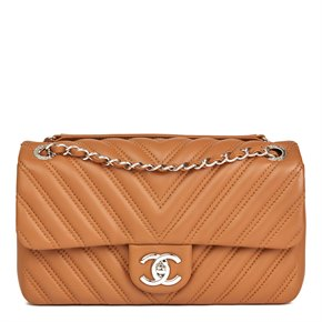 Chanel Toffee Chevron Quilted Lambskin Classic Single Flap Bag