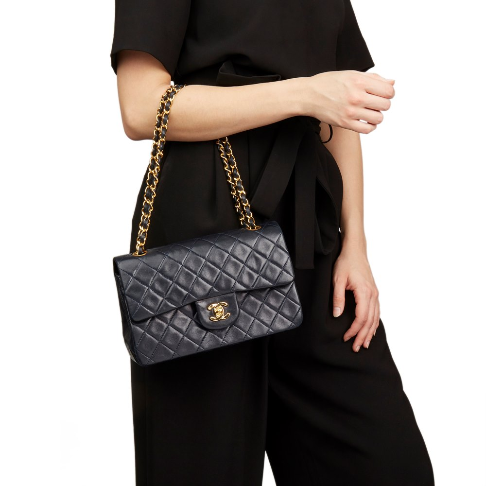 1b1ffa50a35e3 Chanel Navy Quilted Lambskin Vintage Small Classic Double Flap Bag