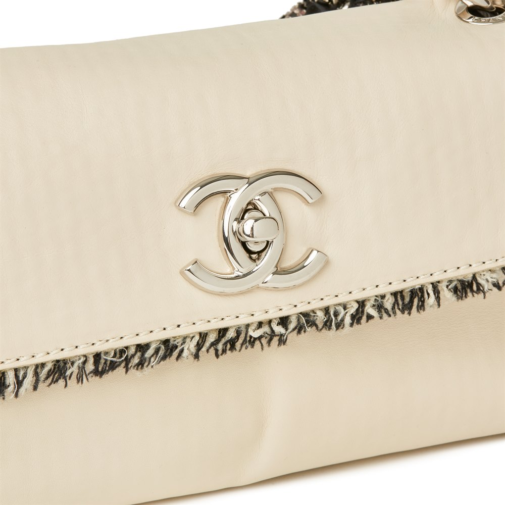 Chanel Ivory Lambskin Leather & Black Tweed Classic Shoulder Bag