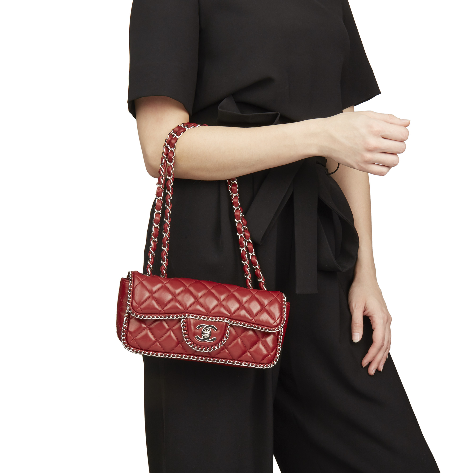 24b3489911cf Chanel Burgundy Quilted Lambskin Chain Around East West Classic Single Flap  Bag