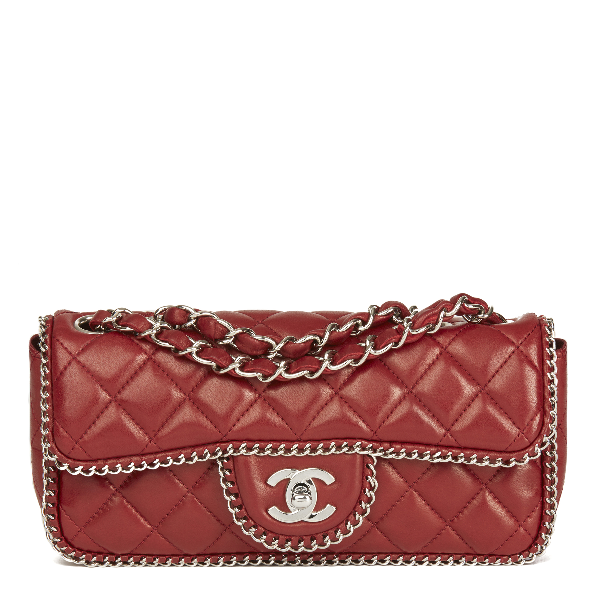 bd97b2e9eb9e Chanel Burgundy Quilted Lambskin Chain Around East West Classic Single Flap  Bag