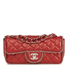 Chanel Burgundy Quilted Lambskin Chain Around East West Classic Single Flap Bag