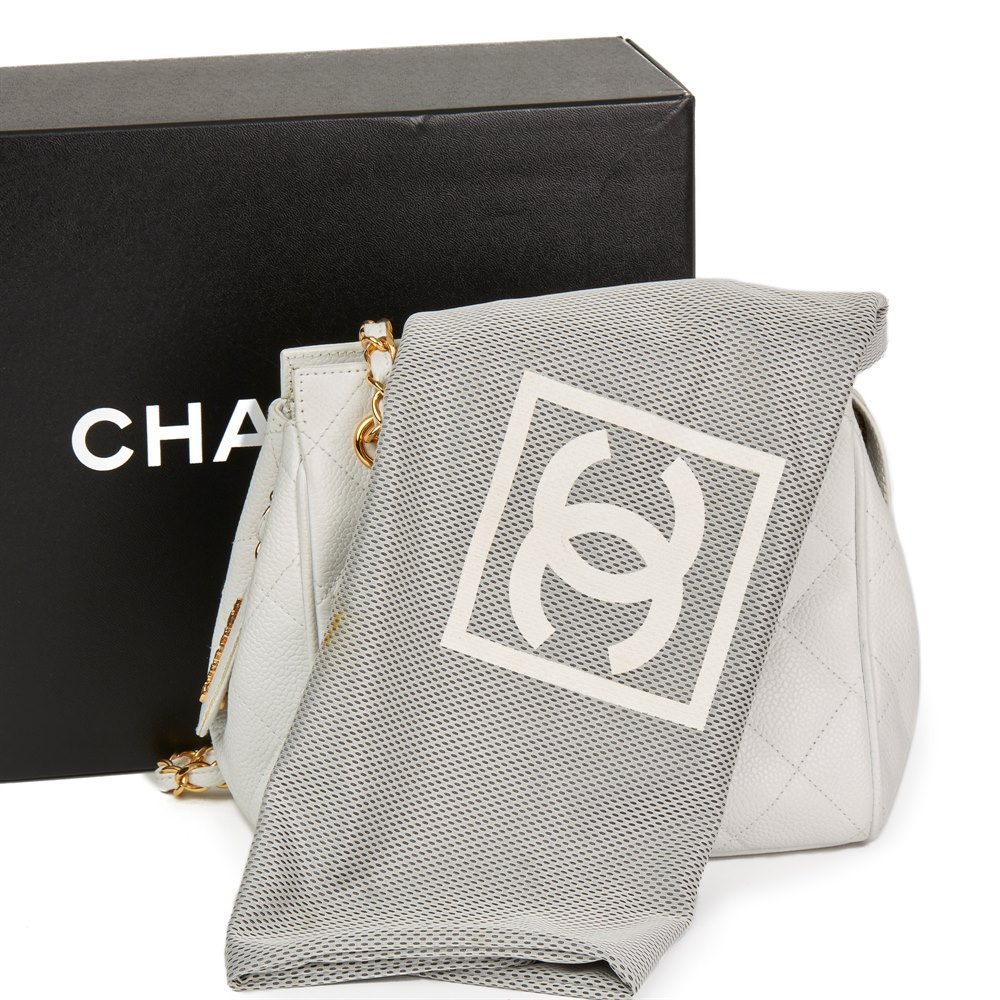 Chanel White Quilted Caviar Leather Vintage Timeless Shoulder Bag