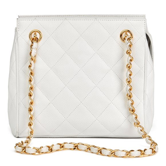 Chanel White Quilted Caviar Leather Vintage Timeless Shoulder Bag
