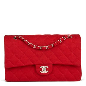 Chanel Red Quilted Jersey Fabric Medium Classic Double Flap Bag