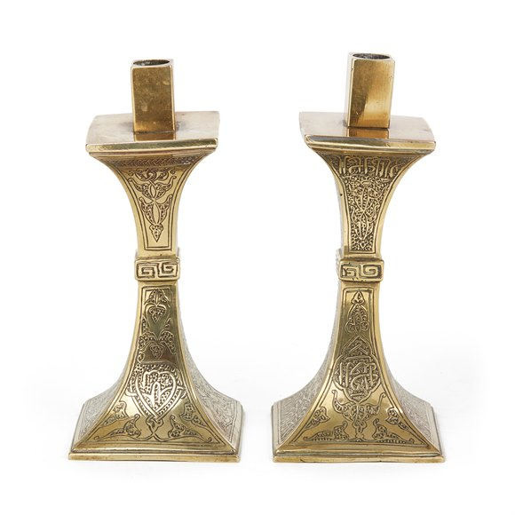 ANTIQUE ISLAMIC CALLIGRAPHY BRASS CANDLESTICKS 19TH C.