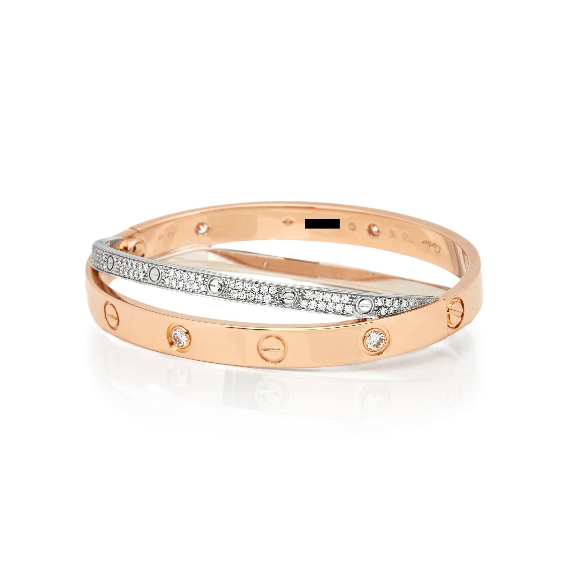 Cartier 18k Rose & White Gold Pavé Diamond Love Bracelet
