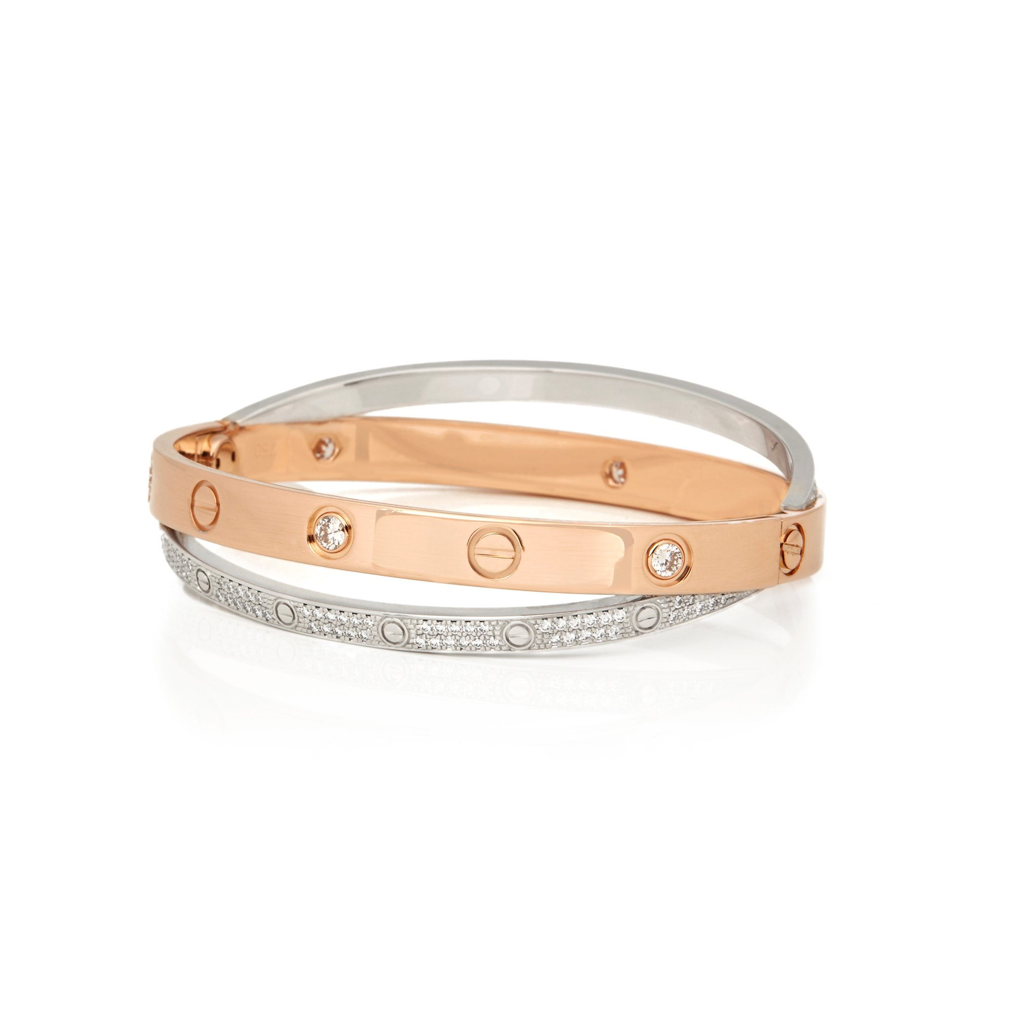d2e3564c4 Cartier 18k Rose & White Gold Pavé Diamond Love Bracelet COM2072 ...