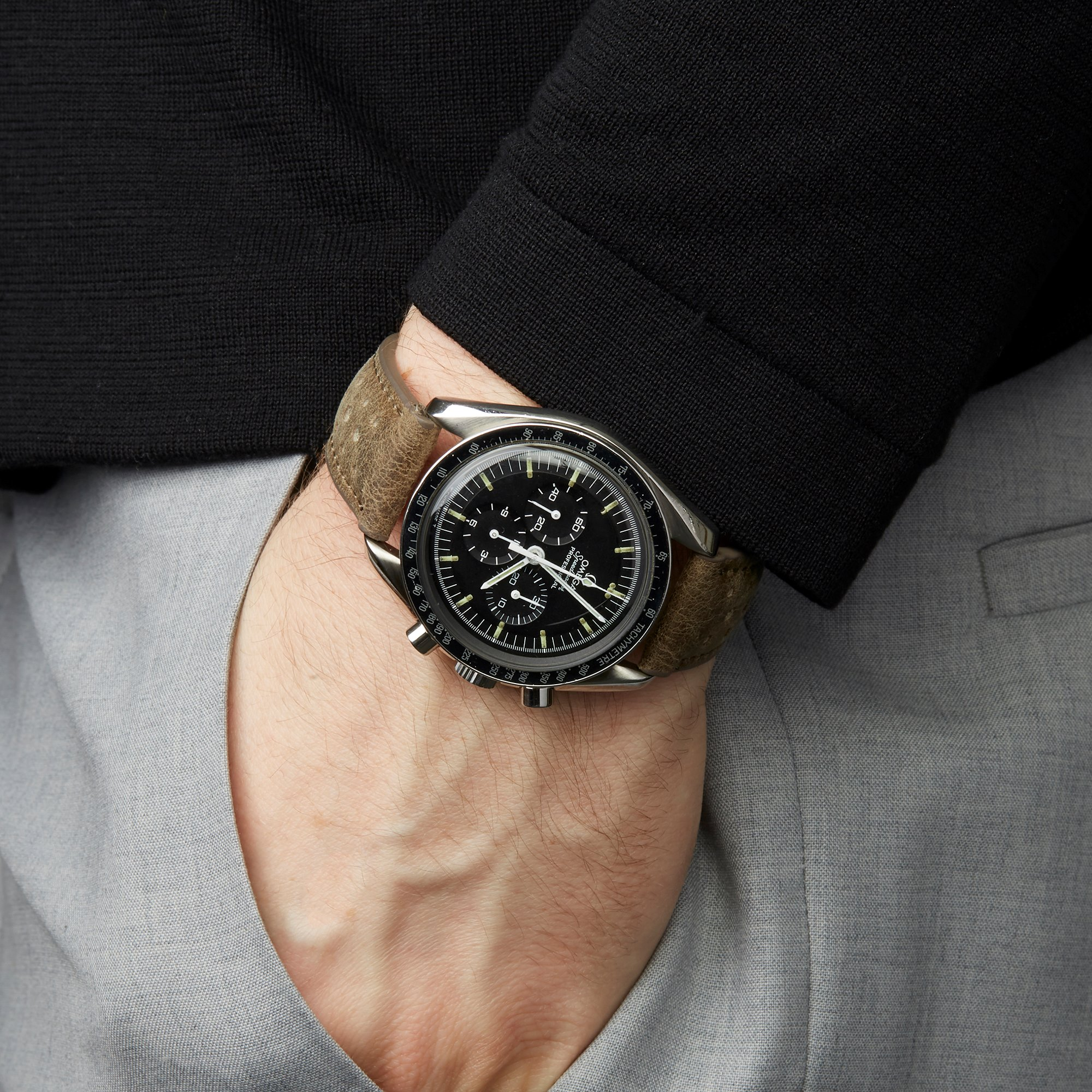 Omega Speedmaster Straight Writing Chronograph Roestvrij Staal 145.022-69 ST