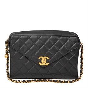 Chanel Black Quilted Caviar Leather Vintage Maxi Jumbo XL Camera Bag