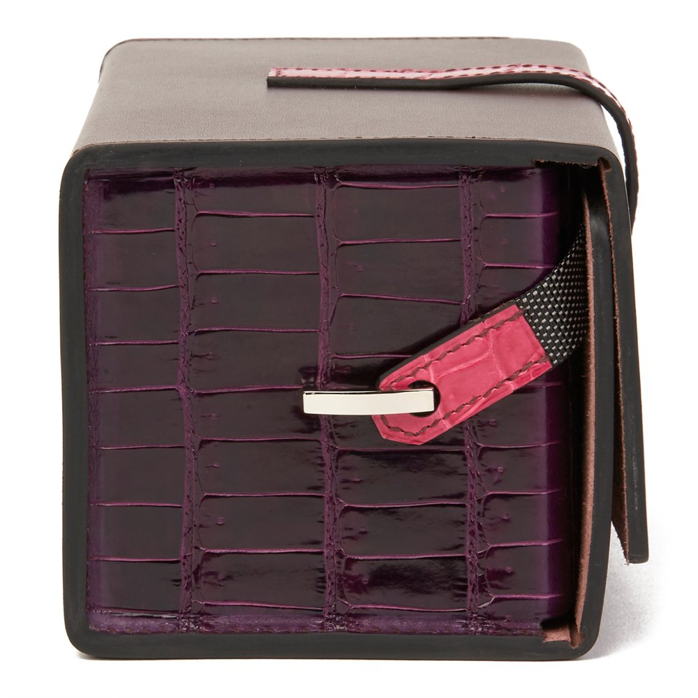 Hermès Amethyst Vache Hunter Cowhide & Shiny Porosus Crocodile Leather Petit H Minaudiere 18