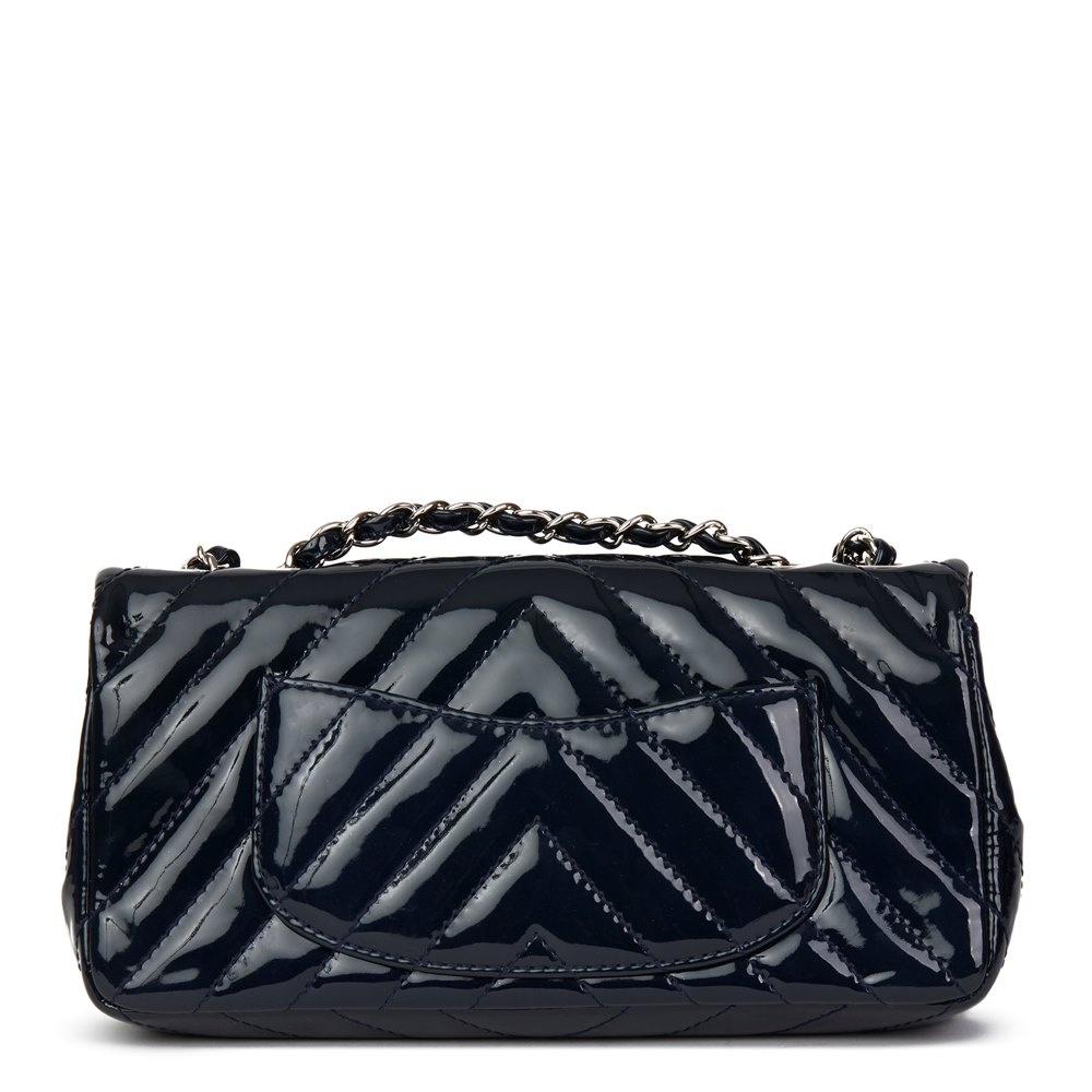 54d8fc5fbc83f0 Chanel Navy Chevron Quilted Patent Leather East West Classic Single Flap Bag