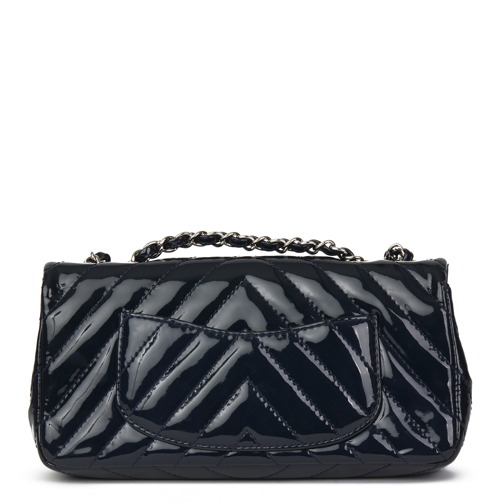 02af553674e179 Details about CHANEL NAVY CHEVRON QUILTED PATENT LEATHER EAST WEST CLASSIC  SINGLE FLAP BAG
