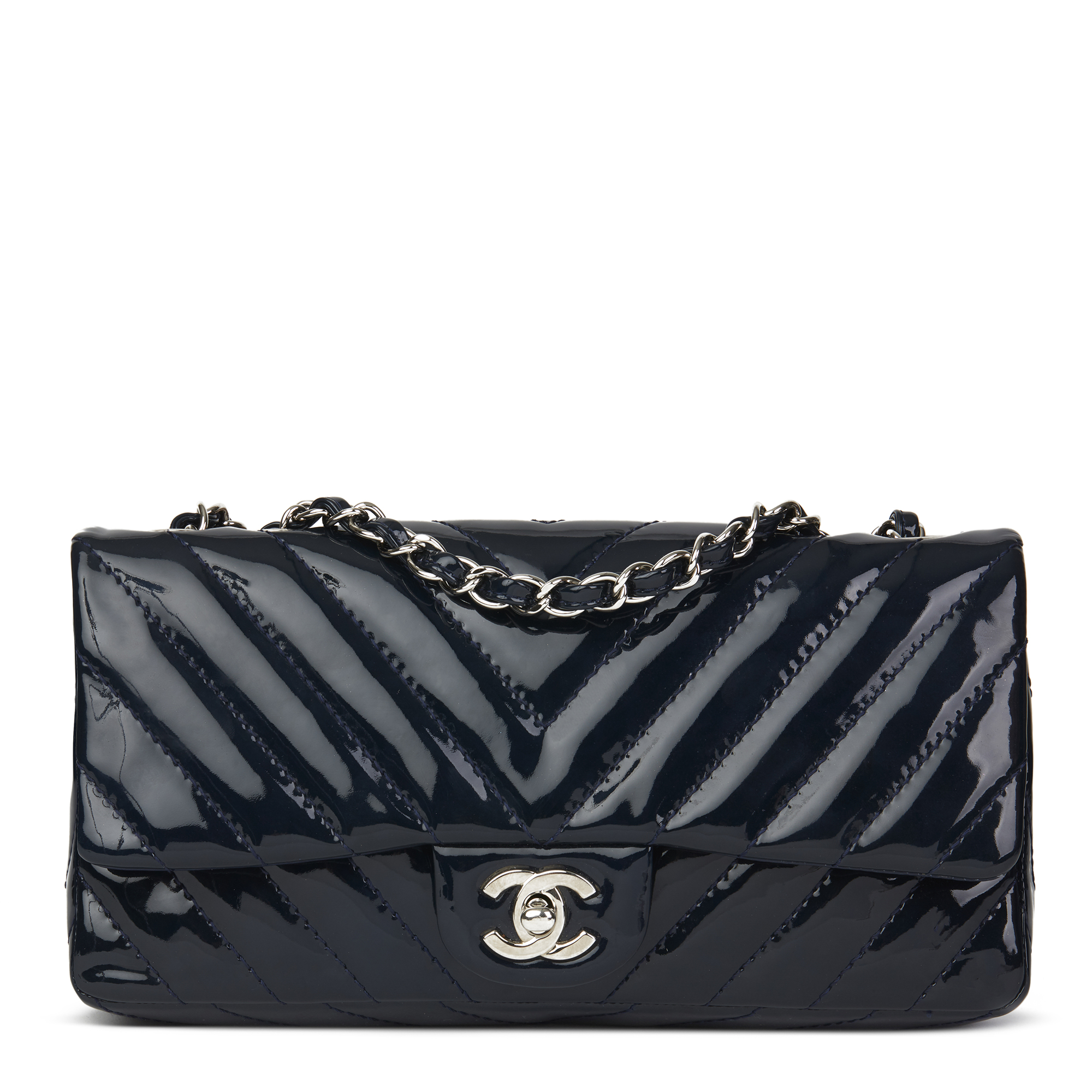 d134a325d6637c Chanel Navy Chevron Quilted Patent Leather East West Classic Single Flap Bag