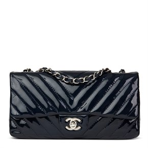 Chanel Navy Chevron Quilted Patent Leather East West Classic Single Flap Bag