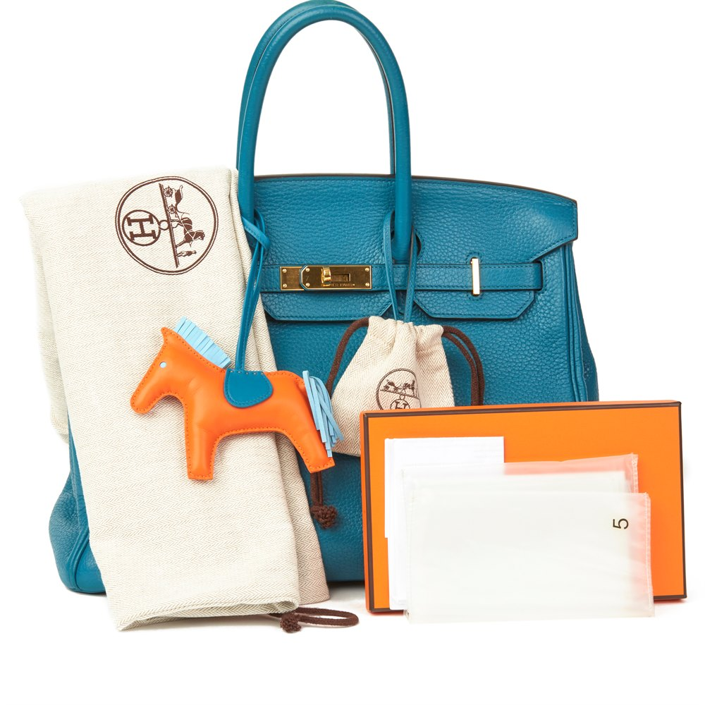 Hermès Blue Izmir Clemence Leather Birkin 35cm