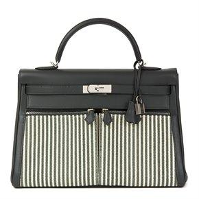 Hermès Vert Fonce Swift Leather & Vert Anglais Ecru Canvas Riga Kelly 35cm Lakis