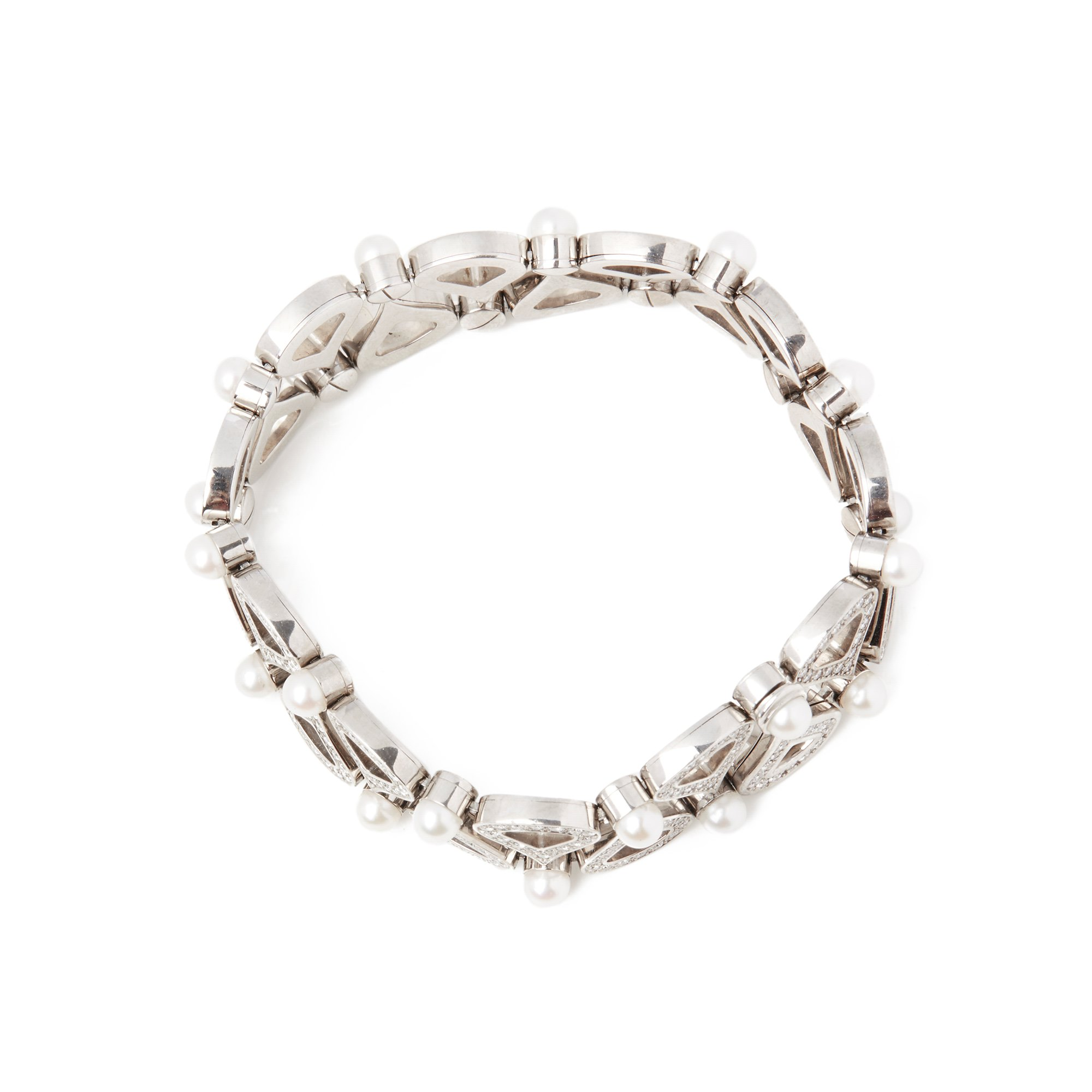 Chopard 18k White Gold Cultured Pearl & Diamond Bracelet
