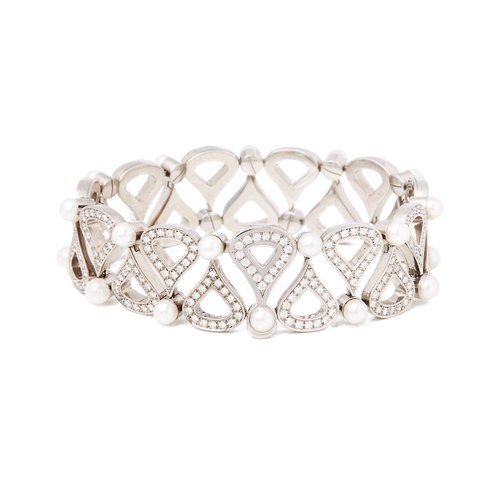 Chopard 18k White Gold Cultured Pearl & Diamond Bracelet