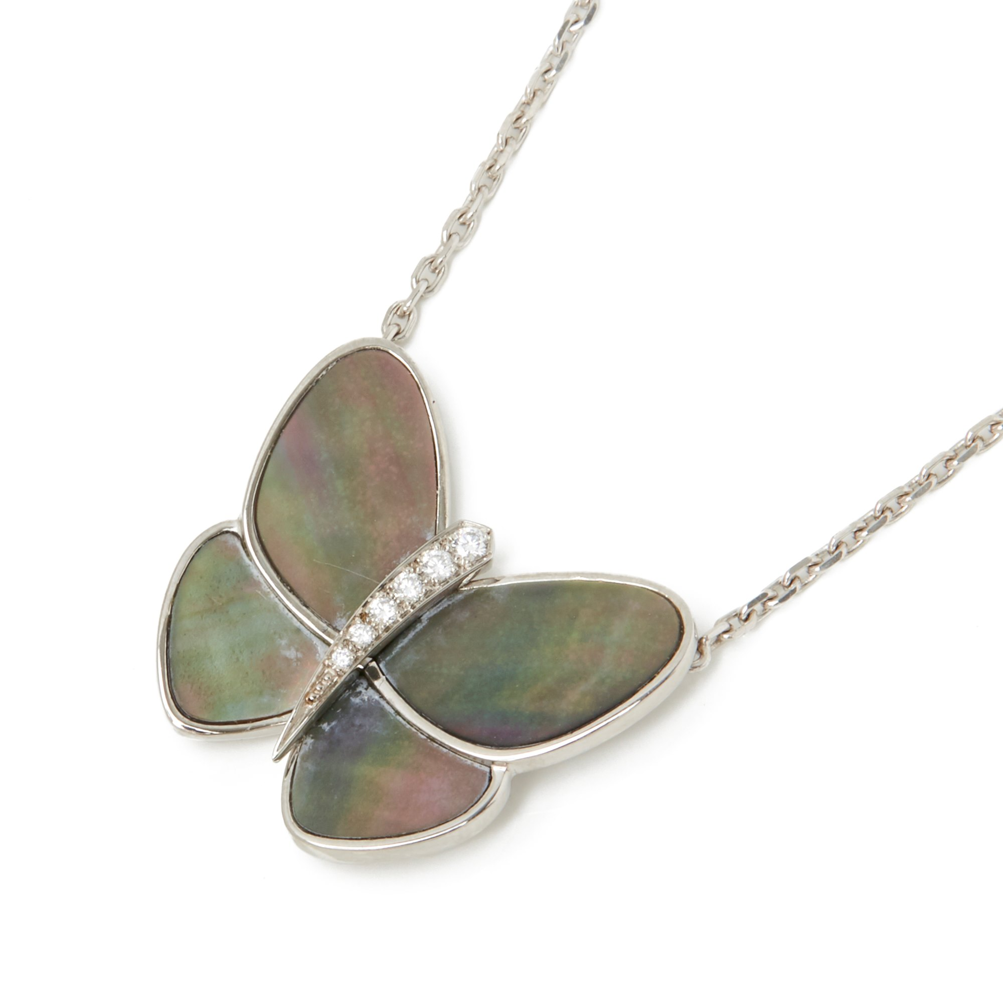 Van Cleef & Arpels 18k White Gold Grey Mother Of Pearl & Diamond Fly & Flutter Butterfly Necklace