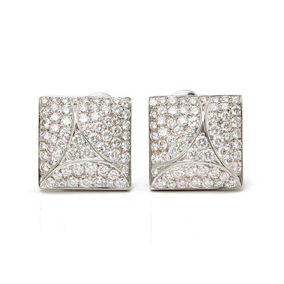 Cartier 18k White Gold Diamond Berlingot Earrings