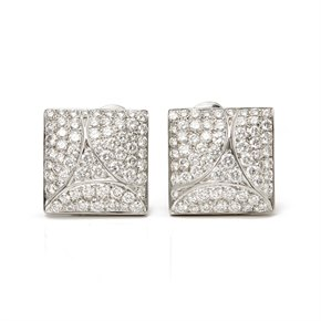 Cartier 18k White Gold Diamond Berlingot Earrings