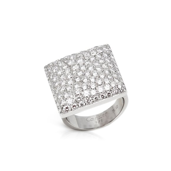 Cartier 18k White Gold Diamond Berlingot Ring