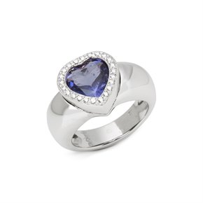Piaget 18k White Gold Iolite & Diamond Heart Cocktail Ring