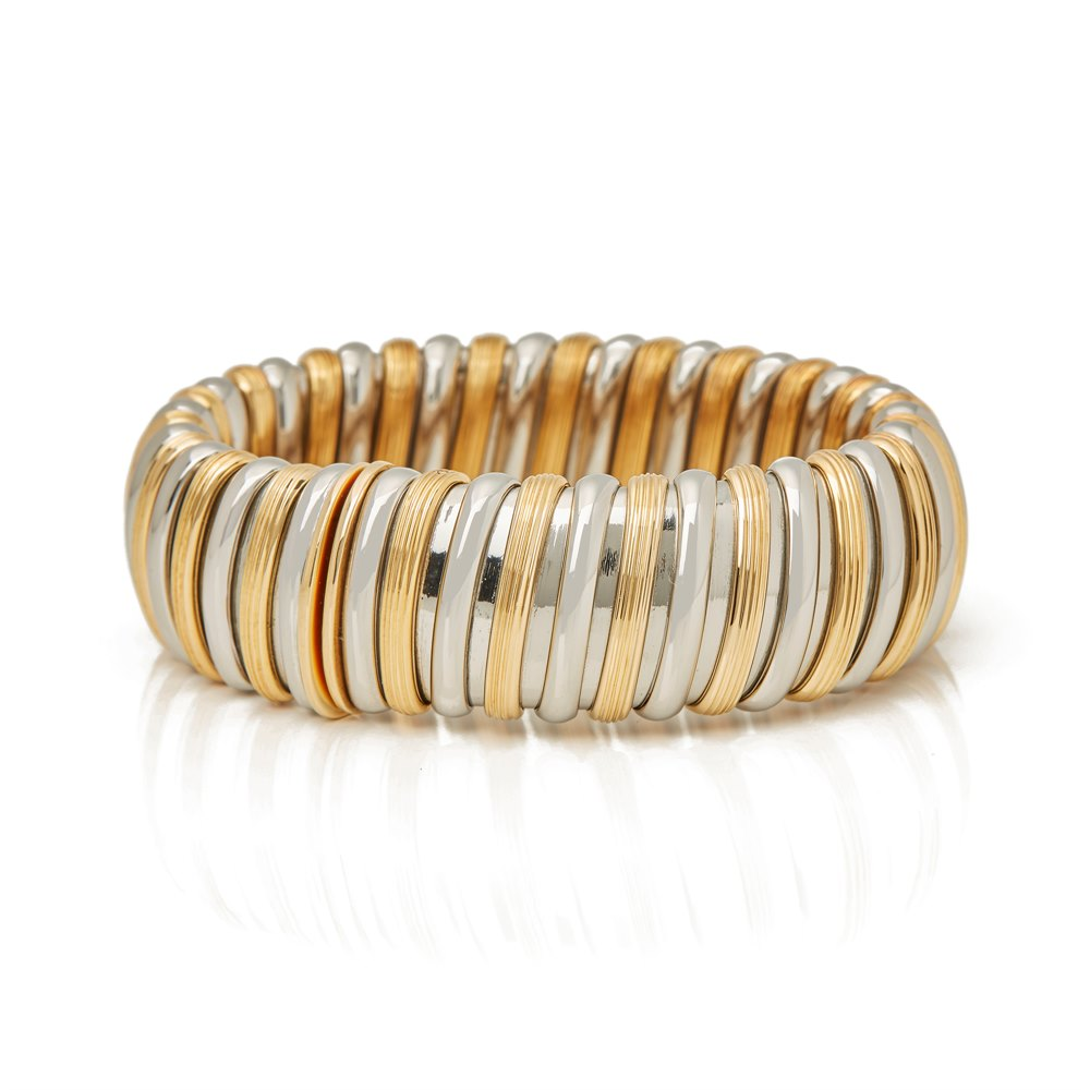 Bulgari 18k White & Yellow Gold Large Bangle
