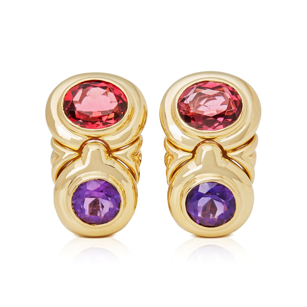 Bulgari 18k Yellow Gold Amethyst & Tourmaline Earrings